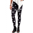 Womens Hot Fashion Black Polka Dot High Waist Skinny Fitted Pants Leggings