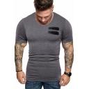 Mens Summer Fashion Plain Zipper PU Patched Short Sleeve Slim T-Shirt