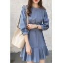 Fashion Hot Sale Half Sleeve Bow-Tie Plain Ruffle Hem Casual Mini A-Line Dress