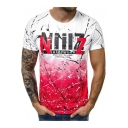Summer Street Style Graffiti Tie Dye Letter Short Sleeve Fitted T-Shirt for Men