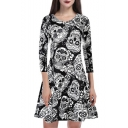 Summer Womens Halloween Skull Print Round Neck Long Sleeve Black A-Line Mini Dress