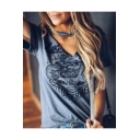 Womens Cool Street Fashion Choker V-Neck Short Sleeve MOTOR RIDER Loose Fit Graphic T-Shirt