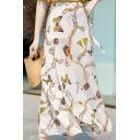 Summer Stylish Womens Chiffon Butterfly Print Vintage Tie-Waist Beach Maxi Skirt