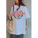 Summer Hot Popular Simple Letter Logo V Print Round Neck Oversized Loose Tee