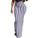 Sexy Girls Hot Popular Purple Strip High Waist Split Side Maxi Skirt for Nightclub