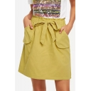Womens Hot Stylish Self-Tie Pocket Front Paperbag Elastic Waist Mini Skirt