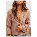 Fashion Womens Plain Lace Plunge V Neck Cutout Crochet Elastic Cuff Casual Loose Blouse