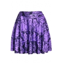 Summer Hot Fashion Elastic Waist Rabbit Floral Print Pleated Mini Purple Skater Skirt for Women