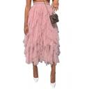 Womens Hot Fashion Asymmetric Hem Sheer Mesh High Waist Chic Maxi Cake Puffy Skirt