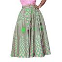 Womens Hot Fashion Polka Dot High Waist Self-Tie Maxi Puffy Skirt