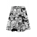 Summer New Trendy Womens Elastic Waist Multicolor Cartoon Print Pleated Mini Skater Skirt