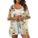 Hot Trendy Sexy Womens Floral Printed Half Sleeve Chiffon Beach Sunscreen Cardigan Shirt