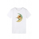 Summer Hot Fashion White Cherub Print Short Sleeve Round Sleeve T-Shirts