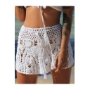Trendy Summer Hot Sexy Plain Cutout Crochet High Waist A -line Mini Beach Skirt