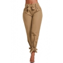 Hot Popular Plain Gather Waist Bow Tie Tapered Pants
