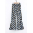 Hot Popular Womens Grass Printed Belt Waist Flared Pants