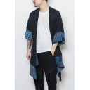 Guys Vintage Chinese Style Tribal Printed Open Front Longline Linen Coat