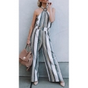 Summer Hot Popular Halter Sleeveless Striped Printed Backless High Waist Sexy Jumpsuits