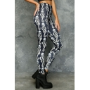 Womens Hot Popular Elastic Waist Black Skull Printed Skinny Fitted Legging Pants