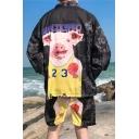 Guys Summer Funny Cartoon Pig Print Back Three-Quarter Sleeve Sun Protection Kimono Blouse