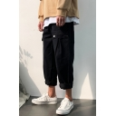 Guys New Fashion Simple Plain Falling Wide Leg Casual Cropped Cargo Pants