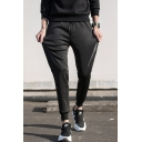 Men's Simple Fashion Solid Color Tape Patched Side Black Cotton Drawstring Waist Sweatpants