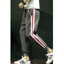 Men's Popular Fashion Colorblock Stripe Side Elastic Waist Casual Warm Sweatpants