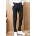 Popular Fashion Vintage Plaid Pattern Slim Fitted Business Dress Pants for Men
