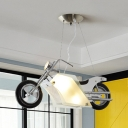 Metal Motor Shape Pendant Light Contemporary Cool Hanging Light in White for Boys Bedroom Teen
