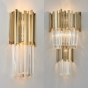 Luxurious Style Flute Sconce Light Metal Clear Crystal Gold Finish Wall Light for Stair Bedroom