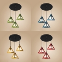 Dining Table Triangle Shade Pendant Light Metal 3 Lights Retro Loft Blue/Green/Red/Yellow Suspension Light
