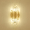 Tube Clear Crystal Sconce Light Contemporary Wall Lamp in Gold for Living Room Dining Table