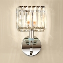 Clear Crystal Rectangle Wall Light Restaurant Single Light Contemporary Sconce Light in Chrome