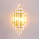 Gold Finish Wall Light Two Heads Modern Stylish Clear Crystal Sconce Lamp for Bedroom Corridor
