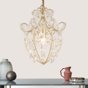 Champagne Gold Heart Pendant Light 1/3 Light Luxurious Metal Chandelier for Living Room