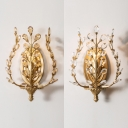 Luxurious Candle Sconce Light Single Light Metal Wall Light with Amber/Clear Crystal in Gold for Villa