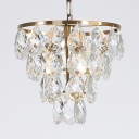 Gold Grape Shaped Suspension Light 1 Light Luxurious Teardrop Crystal Mini Chandelier for Bedroom