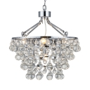 Traditional Chrome Finish Chandelier Clear Crystal Beads 5 Lights Metal Hanging Light for Bedroom