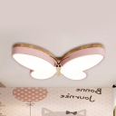 Nordic Pink/White/Yellow Flush Ceiling Light Butterfly Wood Ceiling Lamp for Child Bedroom