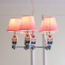 Girls Bedroom Kitty Pendant Light Fabric 5 Lights Modern Lovely Chandelier in Pink