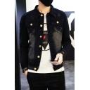 Guys Vintage Bleached Black Simple Letter M Print Back Long Sleeve Button Down Short Denim Jacket