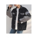 Guys Cool Letter Embroidery Patched Colorblock Long Sleeve Button Down Denim Jacket Coat