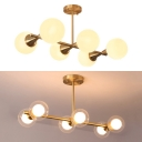 Orb Shape Kitchen Island Lamp Clear/Cream Glass 6 Lights Contemporary Island Pendant in Gold