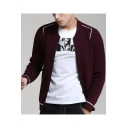 Mens Fashion Contrast Piping Long Sleeve Open Front Fitted Plum Cardigan