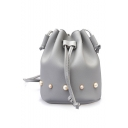 Women's Fashion Solid Color Pearl Embellishment Drawstring Crossbody Bucket Bag 17*20*13 CM