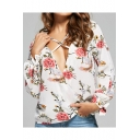 Summer Trendy Floral Printed Crisscross Surplice V-Neck White Chiffon Blouse Top