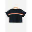 Summer Simple Rainbow Stripe Printed Round Neck Short Sleeve Cropped T-Shirt