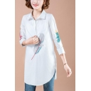 Simple Feather Printed Three-Quarter Sleeve Button Front Longline Shirt Blouse for Women