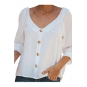 Womens Simple Plain V-Neck Button Down Bow-Tied Cuff White Shirt Blouse