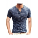 Mens Trendy Heather Color Button V-Neck Short Sleeve Slim Fitted Henley Shirt